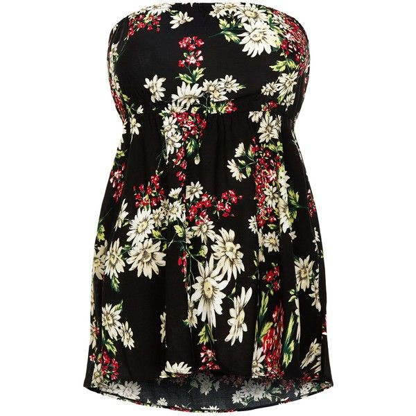 New Look Plus Size Black Floral Print Bandeau Top ($19) ❤ liked on Polyvore featuring tops, black pattern, floral top, pattern tops, women plus size tops, flower print top and plus size bandeau top