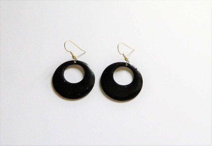 Black enamel earrings, glossy gift, handmade jewellery for Mom, jewelry vitreous enamel, present for her birthday, wife anniversary presents by AlsCraftyCorner on Etsy