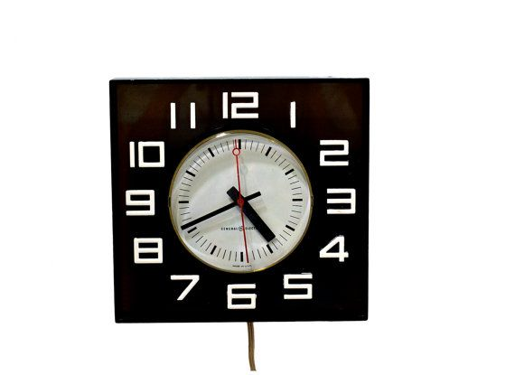 Vintage black white general electric wall clock black - Black and white kitchen clock ...