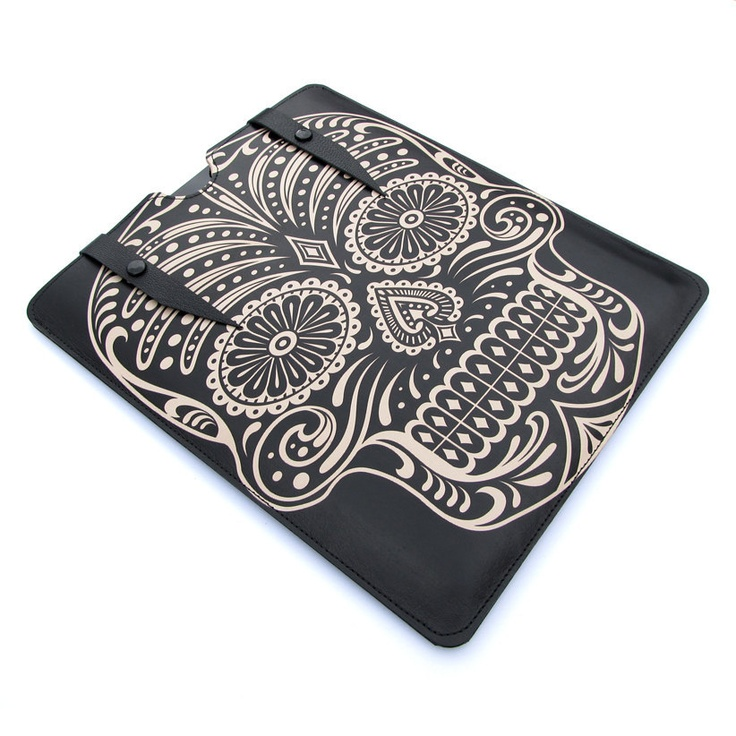 Leather new iPad case - Sugar Skull in Black by Tovicorrie, via Etsy.