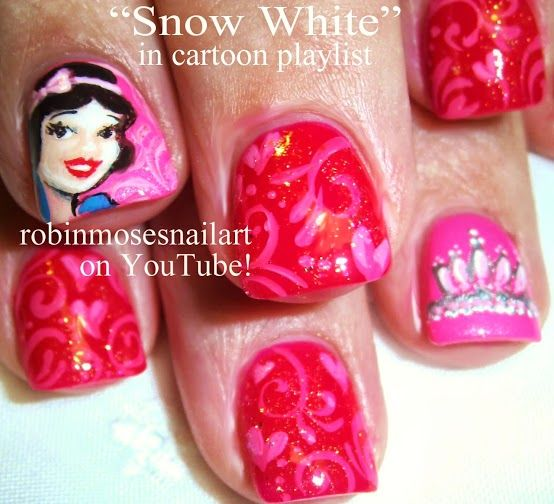 Nail-art by Robin Moses: Disney Nail Art, Snow White Nail Art, Disney Princess Nail Art, Pink Princess Nails, Peach nail art, Lime green Nai...