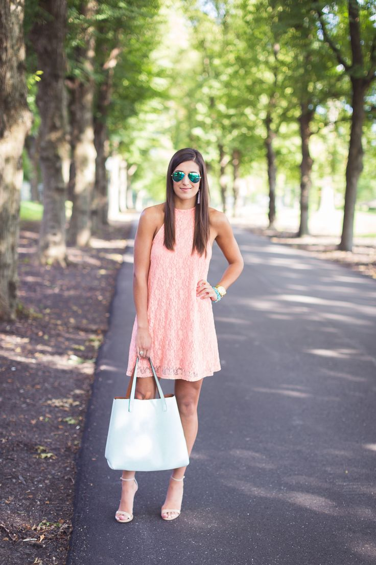 Coral Lace Dress - A Southern Drawl