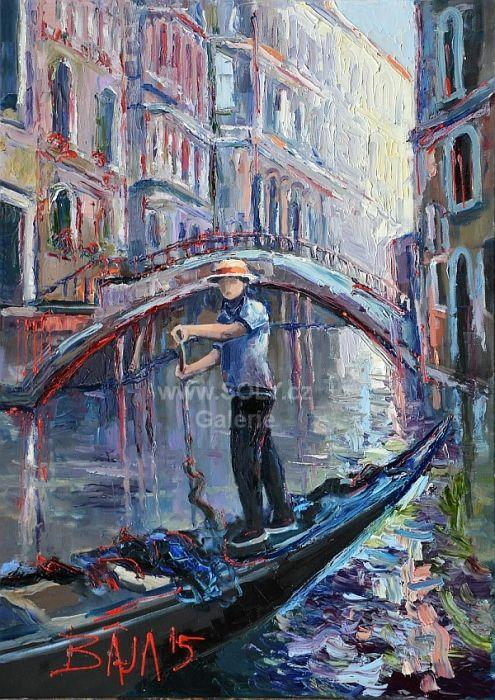 Chlapec a most, Benátky originální obraz českého malíře olej na plátně, 50x70 cm, 15 000 Kč, Gondoliér v Benátkách, Italské umění