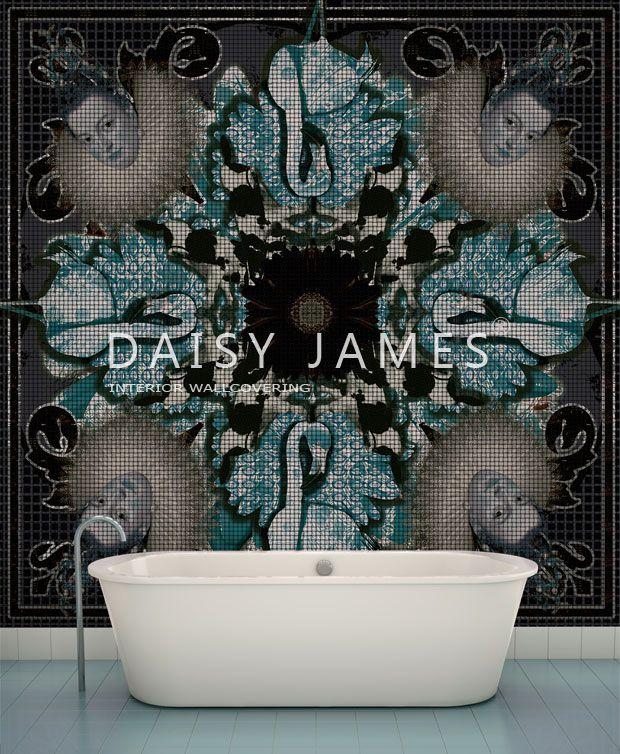"""Wallpaper """"The Flamingo"""" by DAISY DAISY JAMES #Wallcovering #hotel interior  #interiordesign."""