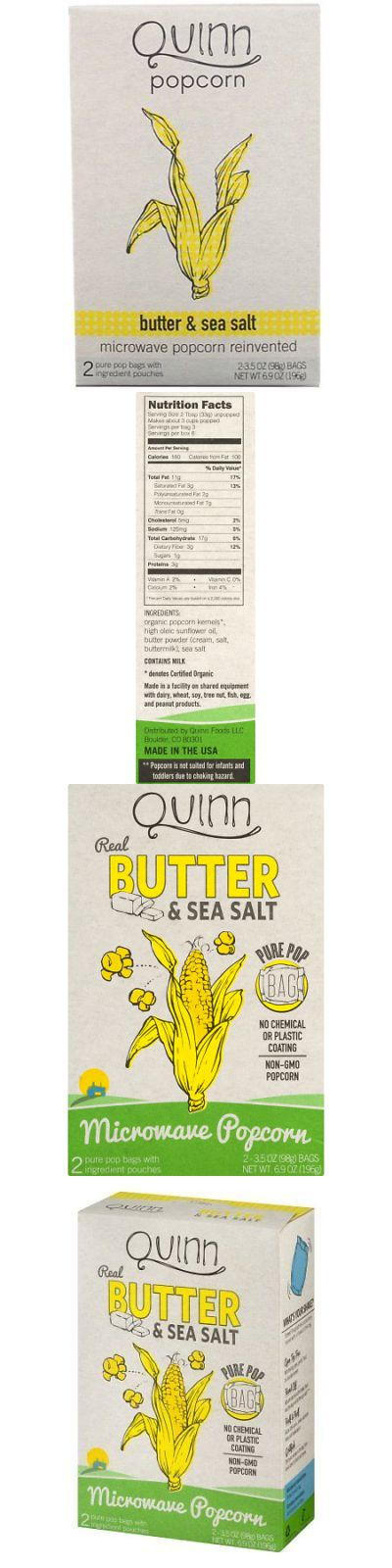 Popcorn 179181: Quinn Popcorn, Butter And Sea Salt Mircowave Popcorn, 6.9 Ounce (Pack Of 6) -> BUY IT NOW ONLY: $36.39 on eBay!