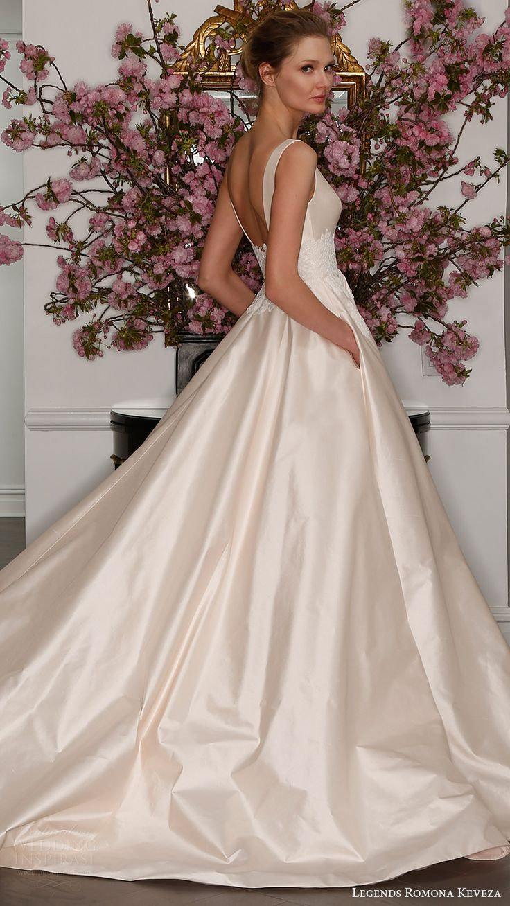 legends romona keveza bridal spring 2017 sleeveless bateau neck silk shantung taffetta ball gown wedding dress (l7129) bv blush color pocket