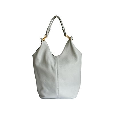 Light Grey Leather Shopper Bag With Detachable Clutch Bag/Document Holder - £59.99