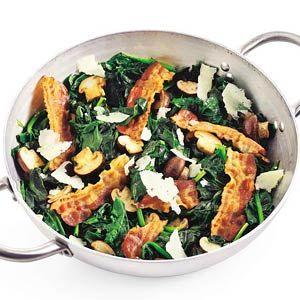 Recept - Spinazie met champignons. Lekkere variatie tip voor spinazie.