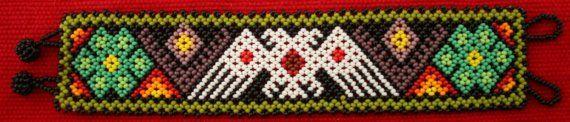 Double Headed Eagle Chaquira Bracelet