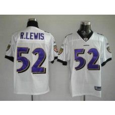Ravens #52 Ray Lewis White Stitched NFL Jersey