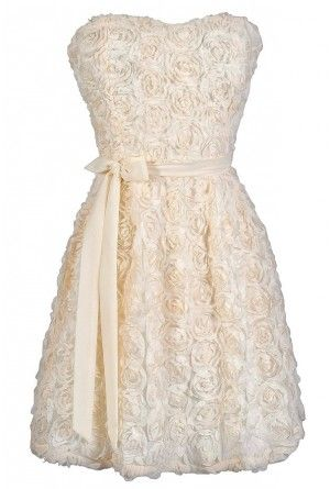 Every Rose Strapless Dimensional Rosette Dress In Ivory