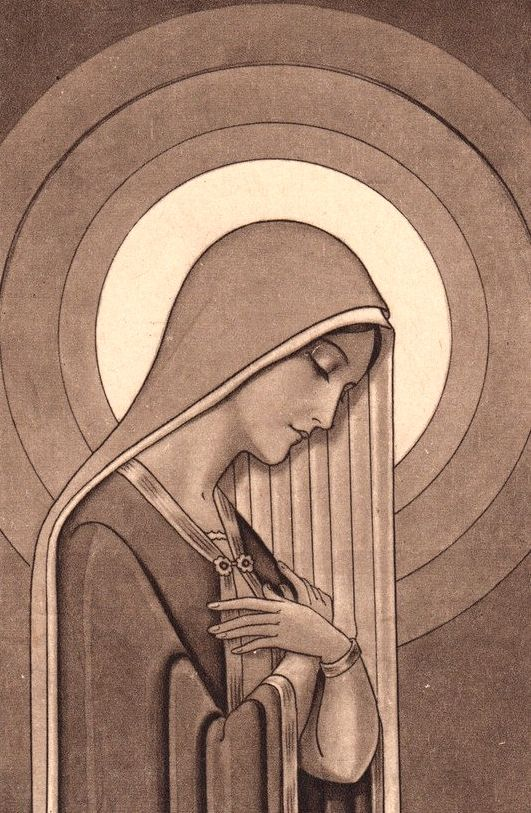 An art deco holy card of the Immaculate Conception.