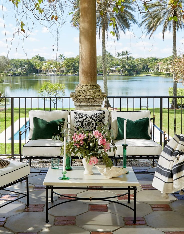 With Sleek Black Frames And Chic White Upholstery, Our Frances Iron  Collection Pieces Serve As. Condo BalconyOutdoor Living RoomsOutdoor ...