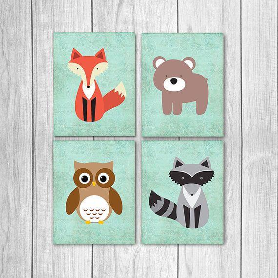 75% korting op verkoop bos kwekerij Decor (Set van vier 8x10s) - Fox kwekerij kunst, Bear, Owl, Raccoon, kwekerij Wall Decor, bosrijke wezens