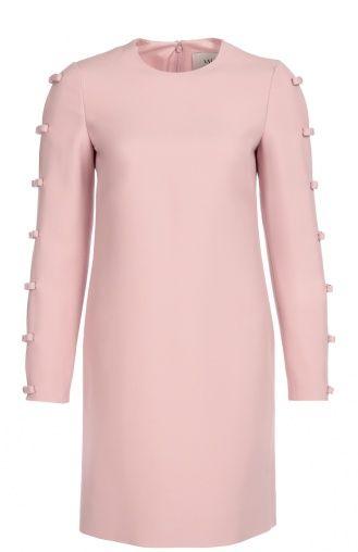 Женское розовое платье прямого кроя с декоративными бантами Valentino, сезон FW 16/17, арт. LB3VA9C5/1CF купить в ЦУМ | Фото №1