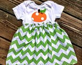Infant onesie Riley Blake Chevron Pumpkin Dress
