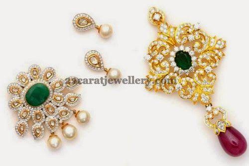Jewellery Designs: Elegant Diamond Pendant Sets