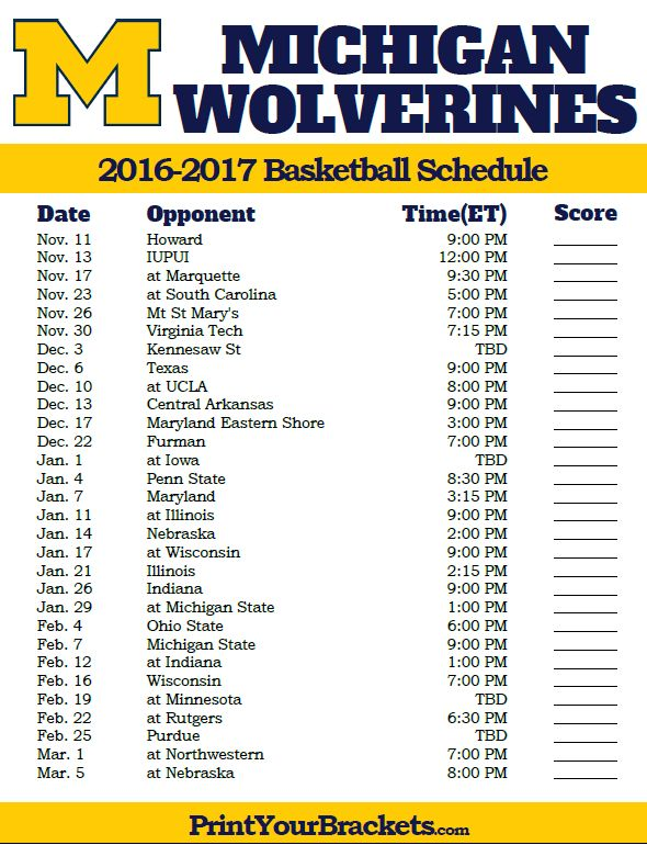 Michigan Wolverines 2016-2017 College Basketball Schedule