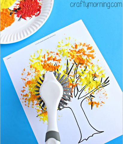 painting with a dish brush for fall