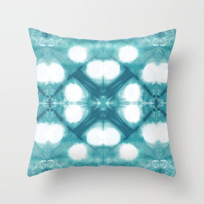 Teal Circle Shibori Throw Pillow By Ninamay Society6 Throw Pillows Shibori Pillows Teal Throw Pillows