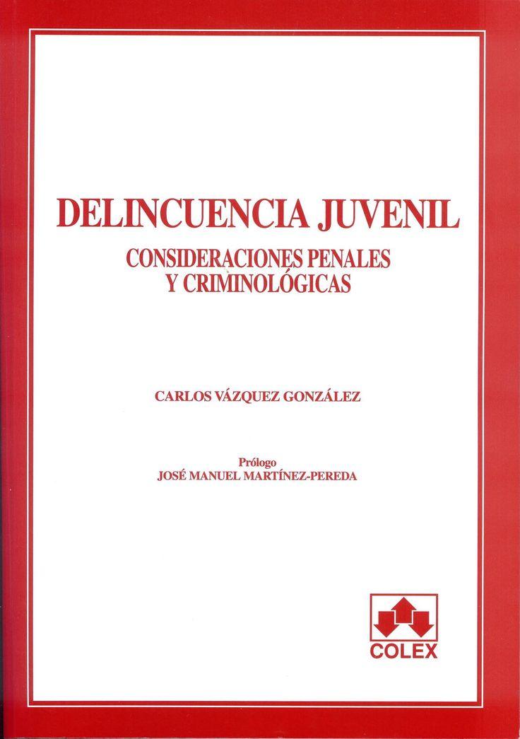 Delincuencia juvenil : consideraciones penales y criminológicas / Carlos Vázquez González. Madrid : Colex, cop. 2003. Sig. 343.915 Vaz