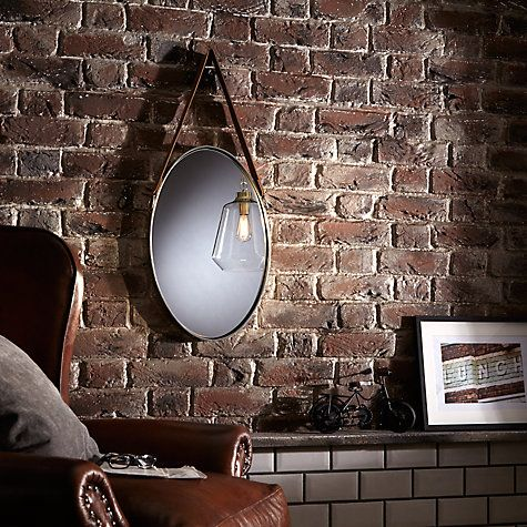 Buy John Lewis Oval Hanging Mirror with Strap, Nickel, 48 x 31cm Online at johnlewis.com