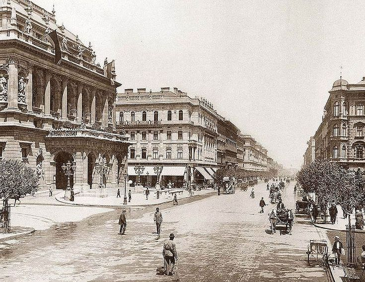Andrássy Avenue 1875, Budapest.  This straight, tree-lined street was built in 1876. In 1885 it was named after Count Andrassy, prime minister and great supporter of its construction. As a little microcosm of history, the name of the avenue actually changed several times: Stalin Avenue in 1950, Avenue of Hungarian Youth in 1956, Avenue of the republic in 1957, before finally reverting to Andrassy Avenue in 1990, at the end of the communist era.
