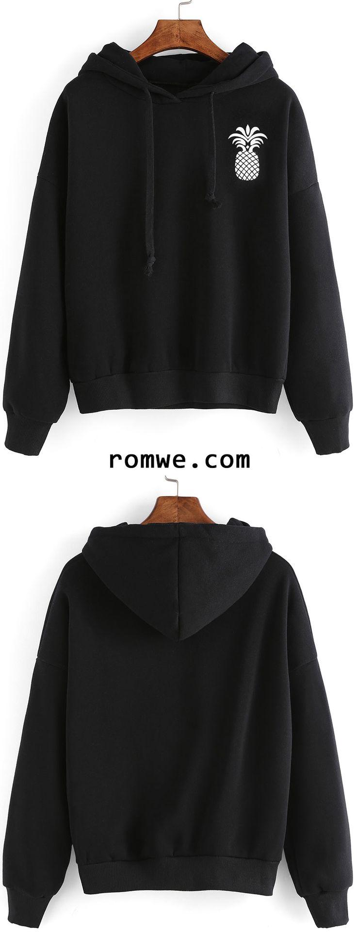 Black Pineapple Print Drop Shoulder Hooded Sweatshirt