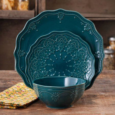 2 Blue Lace ❤️ The Pioneer Woman Farmhouse Lace Dinnerware Set, 12-Piece - Walmart.com