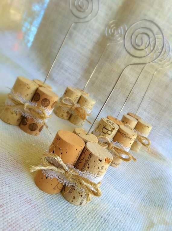 Vineyard Wedding Table Number Holders, Rustic Lace Twine Wedding Decor, Available in Dozens of Custom Colors, Rustic Vineyard Wedding Decor via Etsy