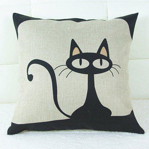 Lovely Cartoon Kitten Printed Square Composite Linen Blend Pillow Case