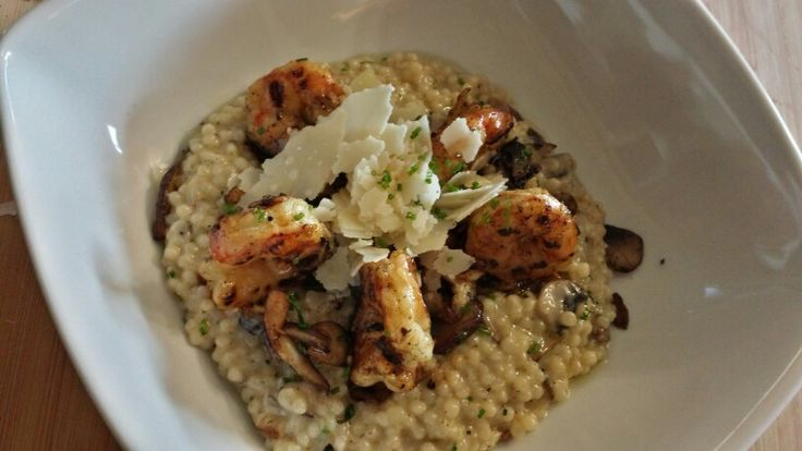 Israelian couscous risotto with mushrooms, cream - mustard marinated shrimp  and romano cheese