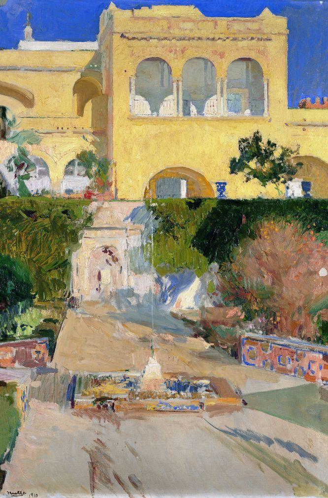 Tarde de sol en el Alcázar de Sevilla, 1910 Óleo sobre lienzo, 94 x 64 cm Colección particular BPS 2161