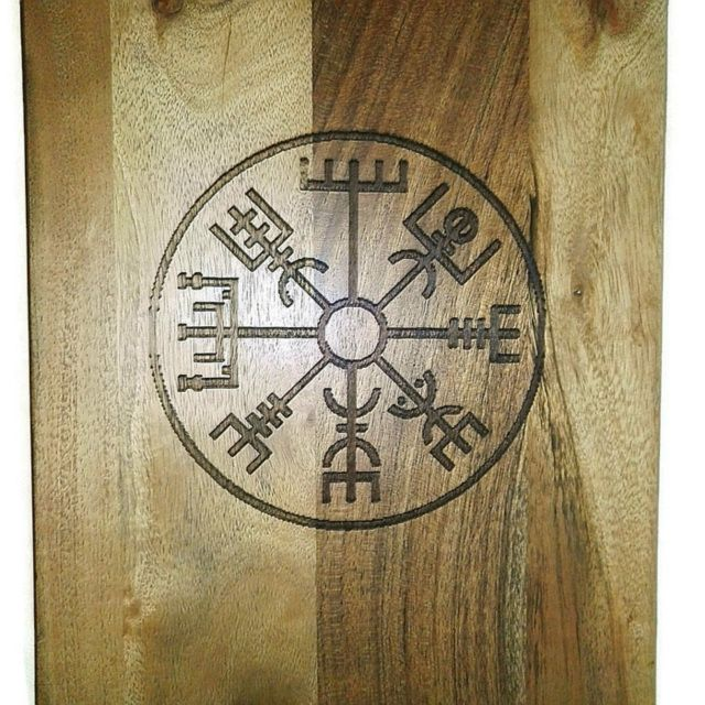 Vegvisir Viking Storm Compass Etched Bamboo Cutting Board