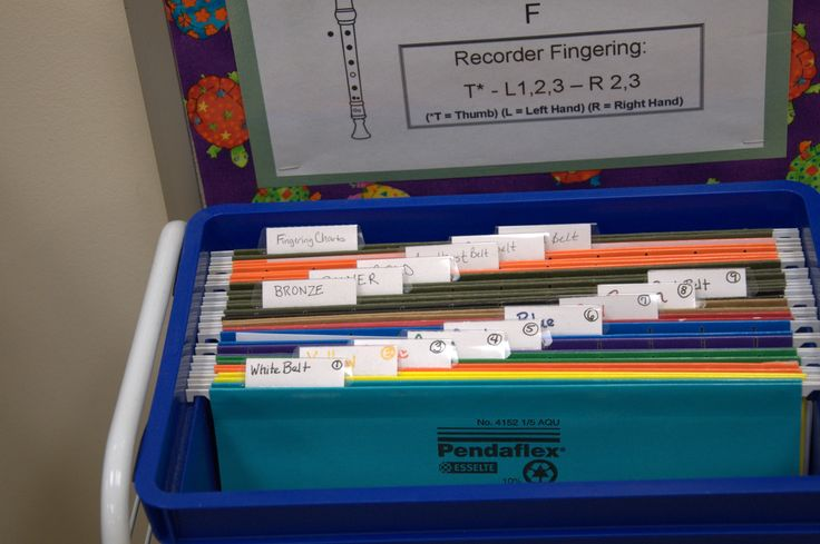 Organizing Recorder Karate music so that it's a self serve for the kids. They know that when they pass a belt they need to go and get the next song to practice. They let me know when it's getting low so that I can print more. More