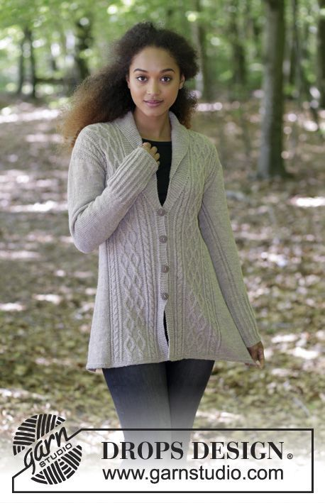 Jacket with shawl collar, cables and A-shape, knitted top down. Size: S - XXXL Piece is knitted in DROPS Flora.