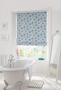 Blue floral Roman blind for the bathroom.  Florals are must have in springtime.