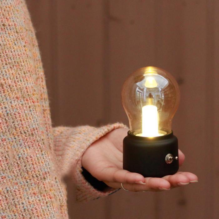 Led Night Light Bulb Usb Rechargeable Vintage Bedroom Bedside Desk