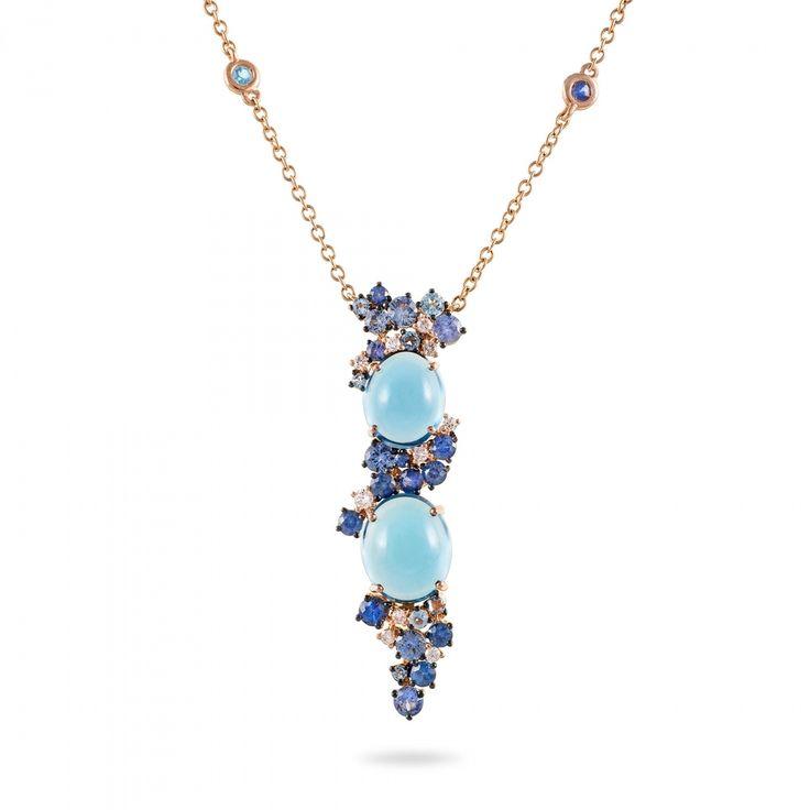 Collana oro rosa, diamanti, topazio blu london e zaffiri blu