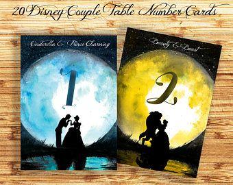 Disney Wedding Table Numbers , Disney Table Number Card, Disney Princess Wedding Cards, Disney Couple Silhouette Wedding Printables