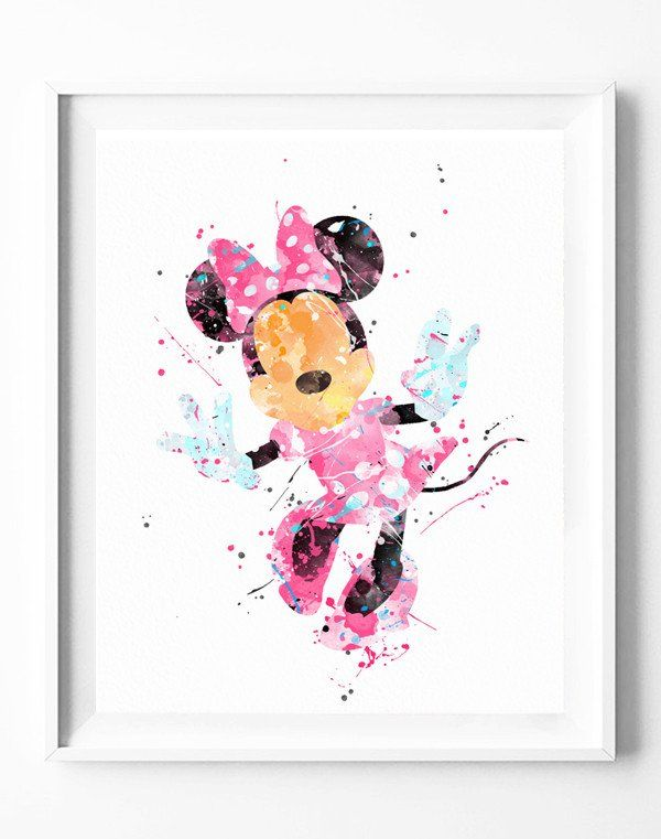 Disney Minnie Poster Art Print Watercolor Painting Wall Art Home Decor Baby Girl Nursery Kids Gifts for Her [104]  #disney #minnie #mickey #mouse #girls #watercolor #print #poster #homedecor #wallart #gifts #nuresey #kids  https://subcow.net  FREE SHIPPING to worldwide + 20% off DISCOUNT