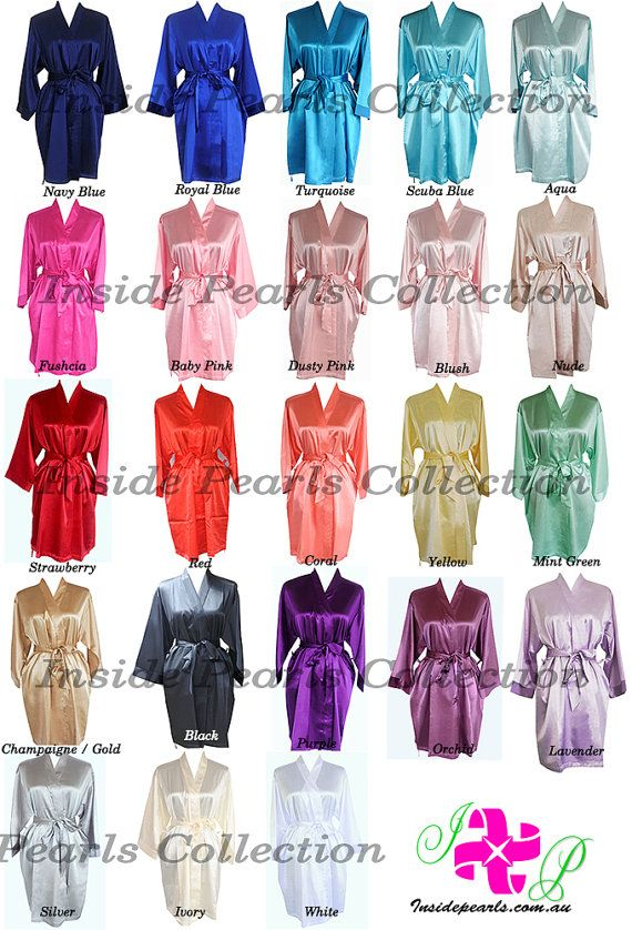 SHIPPED IN 48HRS Set of 5 or 6 Rhinestone Personalized Bridesmaid Robes Silk satin Wedding Gift dressing Gown Pink Fushcia White Mint Blue.