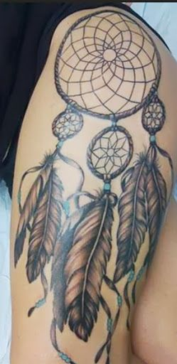 I want a tattoo kinda like this but i want eagle feathers and names on it....plus it will be smaller and on my calf area!!