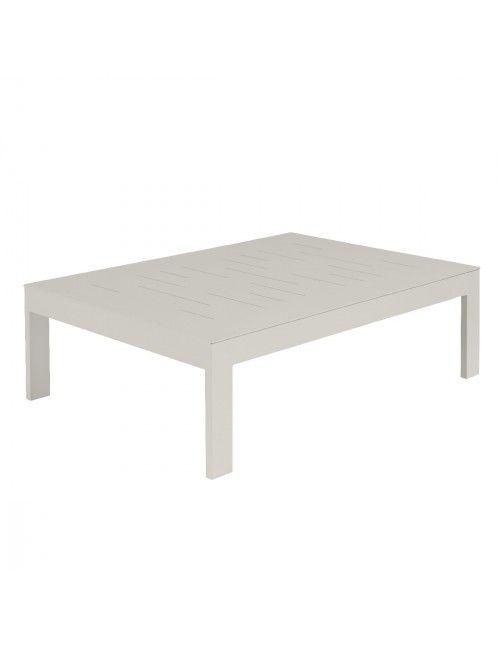 Table basse Sienna 100x70 alu blanc fumée | Salons de jardin ...