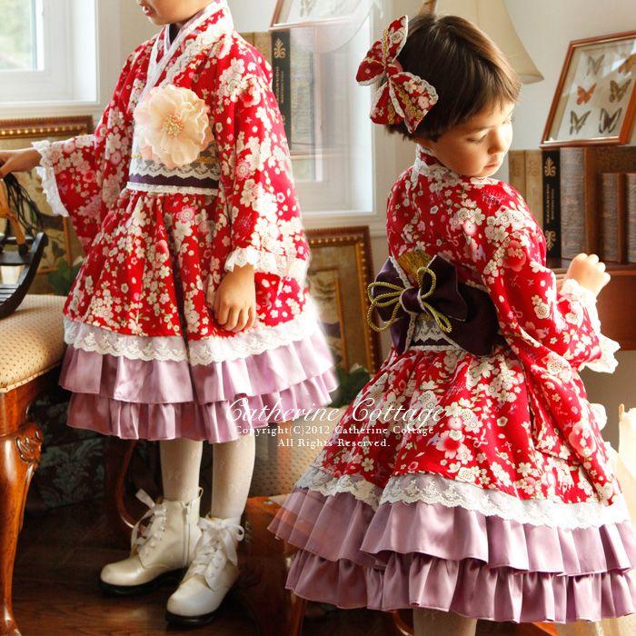 ちりめん桜のプリンセス柄着物ドレス 帯と着物ドレスのセット 七五三 ひなまつり 子供ドレス 発表会 結婚式  子どもドレス:キャサリンコテージ