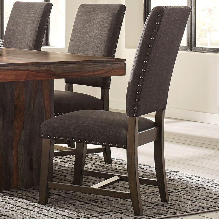 Casual Grey Upholstered Dining Chairs with Nailhead Trim (Set of 2) (Set of 2, Grey), Black (Fabric)