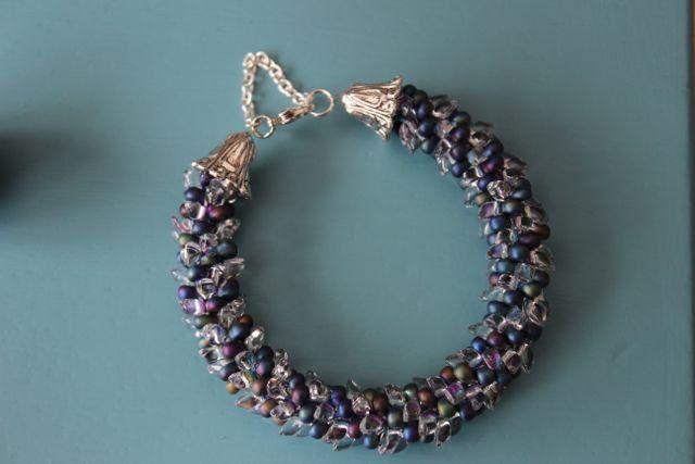 Kumihimo armband, Miyuki kraal crystal/blauw/paars/groen door AtalantaDesign op Etsy