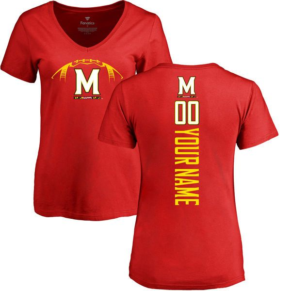 Maryland Terrapins Women's Football Personalized Backer V-Neck T-Shirt - Red - $37.99