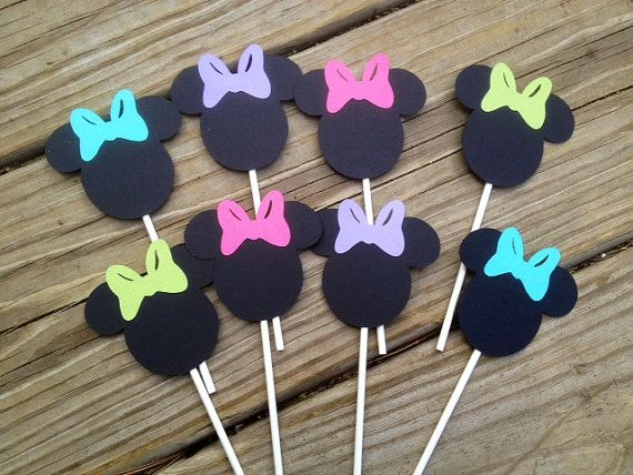 24 Minnie Mouse Multi Colored Bowtique, Bow Cupcake Toppers,Perfect for Minnie Mouse Birthday or Baby Shower
