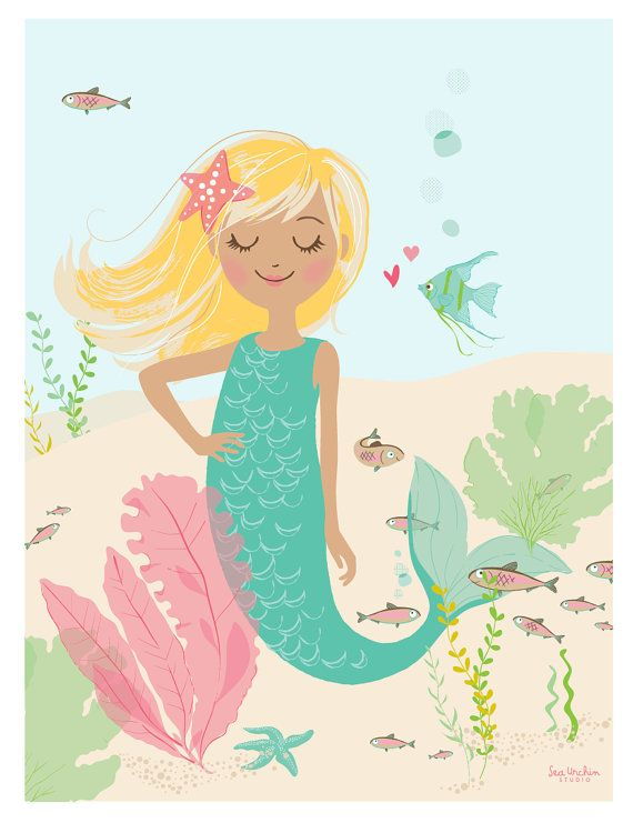 "Deep Sea Cutie - 8"" x 10"" mermaid print  - Nursery art for children on Etsy, $15.00"